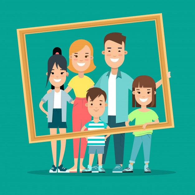 familia-feliz-enmarcado-retrato-estilo-plano-ilustracion-vectorial_126523-15